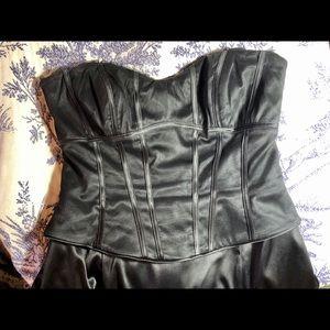 Black Satin Strapless Ballgown